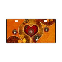 Steampunk decorative heart License Plate