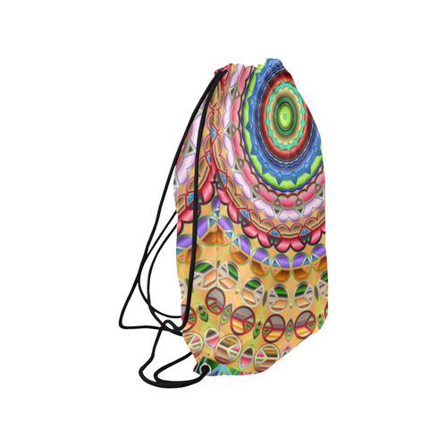 "Peace Mandala Medium Drawstring Bag Model 1604 (Twin Sides) 13.8""(W) * 18.1""(H)"