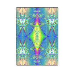 """Colorful Neon Webs on the Water Fractal Abstract Blanket 58""""x80"""""""