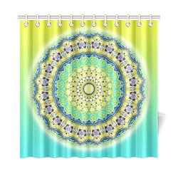 "Power Mandala - Blue Green Yellow Lilac Shower Curtain 72""x72"""