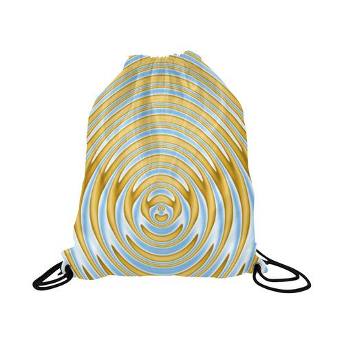 "Gold Blue Rings Large Drawstring Bag Model 1604 (Twin Sides)  16.5""(W) * 19.3""(H)"