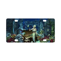 Underwater wold with mermaid Classic License Plate