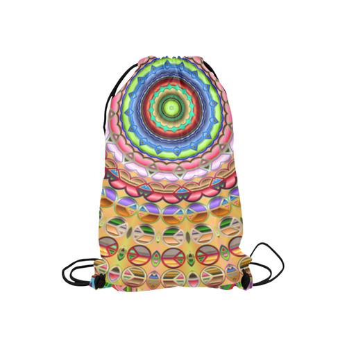 "Peace Mandala Small Drawstring Bag Model 1604 (Twin Sides) 11""(W) * 17.7""(H)"