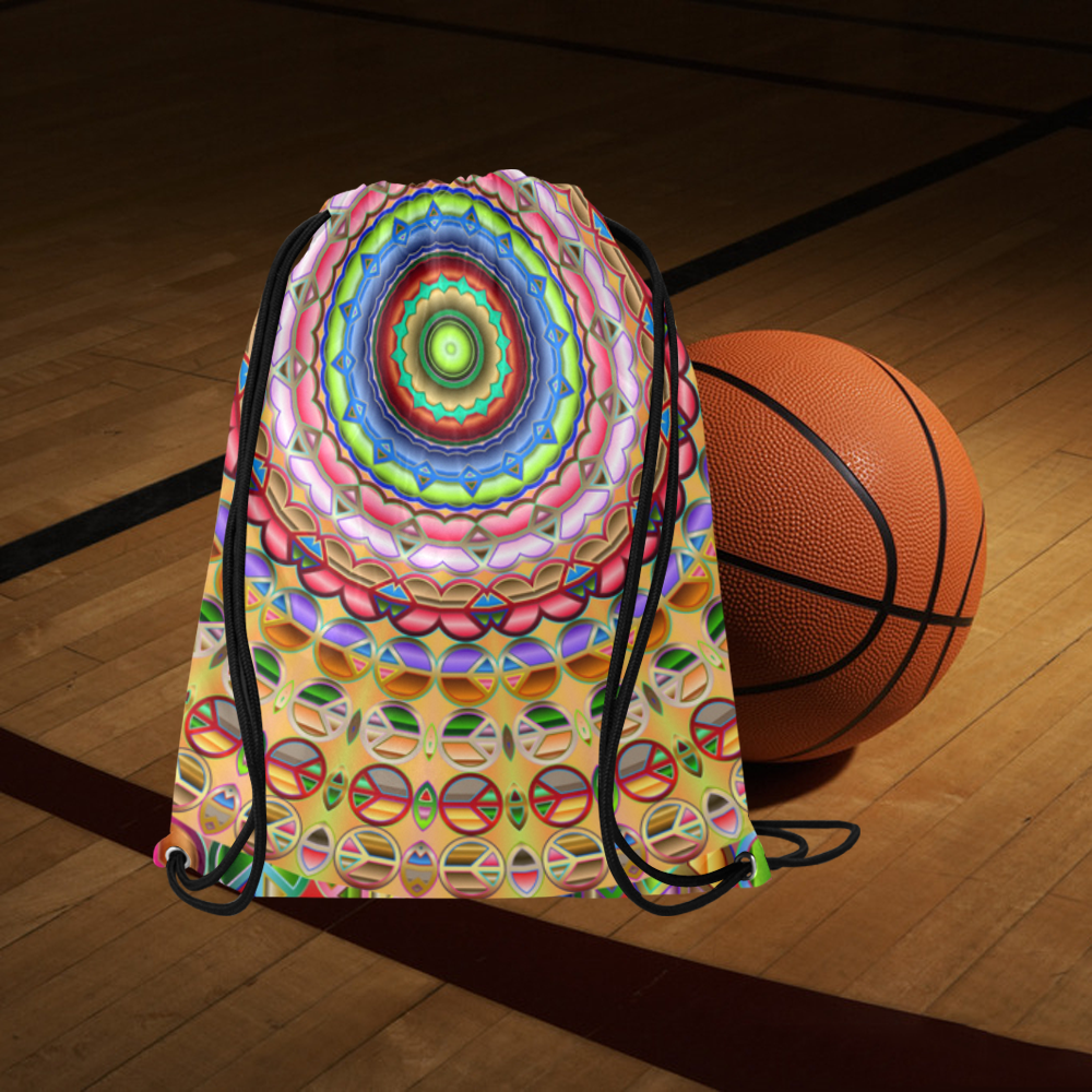 "Peace Mandala Large Drawstring Bag Model 1604 (Twin Sides)  16.5""(W) * 19.3""(H)"