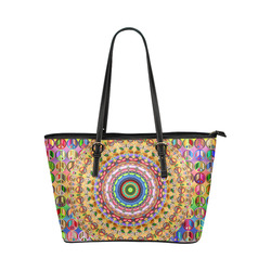 Peace Mandala Leather Tote Bag/Small (Model 1651)