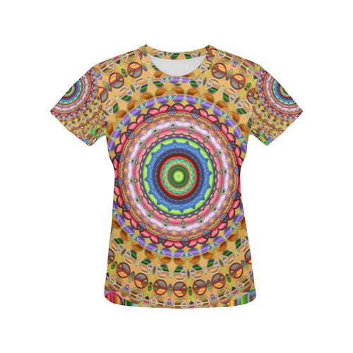 Peace Mandala All Over Print T-Shirt for Women (USA Size) (Model T40)