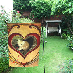 Cute kitten on a heart Garden Flag 12''x18''(Without Flagpole)