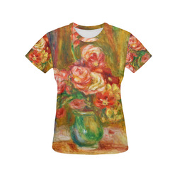 Pierre-Auguste Renoir Vase of Roses All Over Print T-Shirt for Women (USA Size) (Model T40)