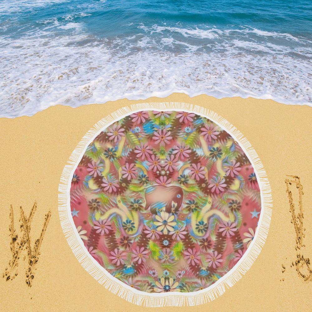 "Jungle life and paradise apples Circular Beach Shawl 59""x 59"""