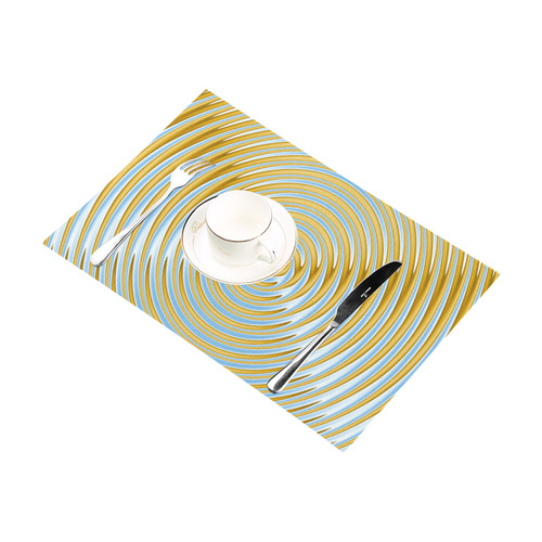 Gold Blue Rings Placemat 12''x18''