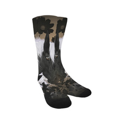 Wonderful black horse with white mane Trouser Socks