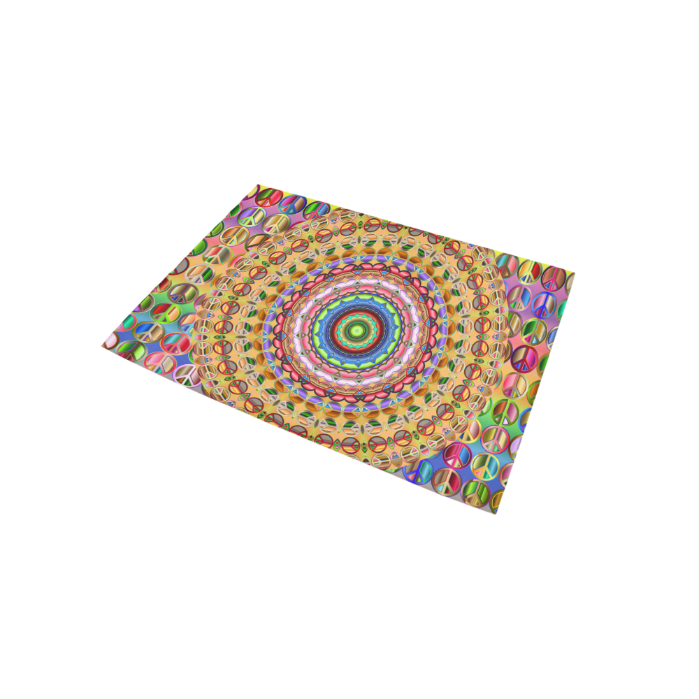 Peace Mandala Area Rug 5'x3'3''