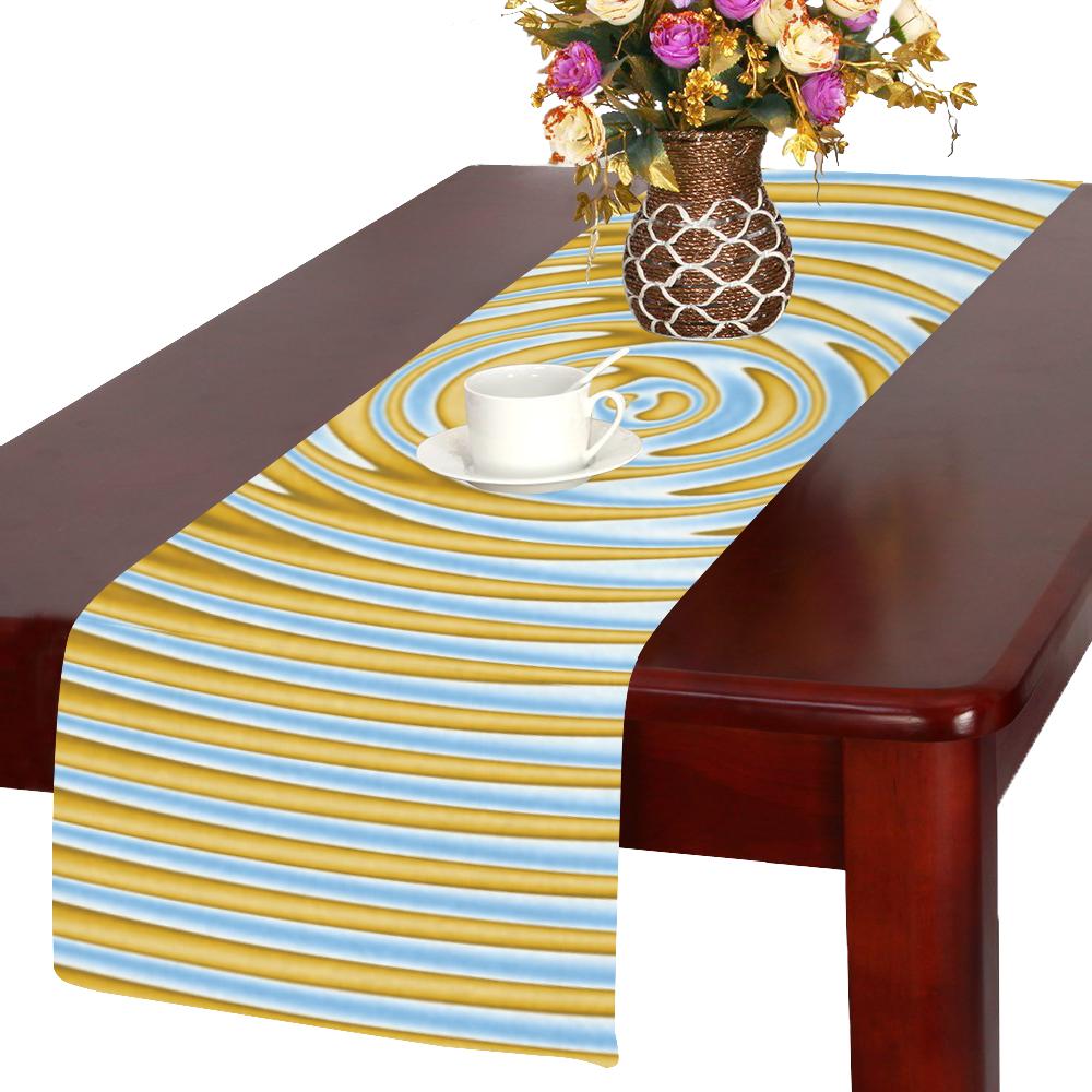 Gold Blue Rings Table Runner 14x72 inch
