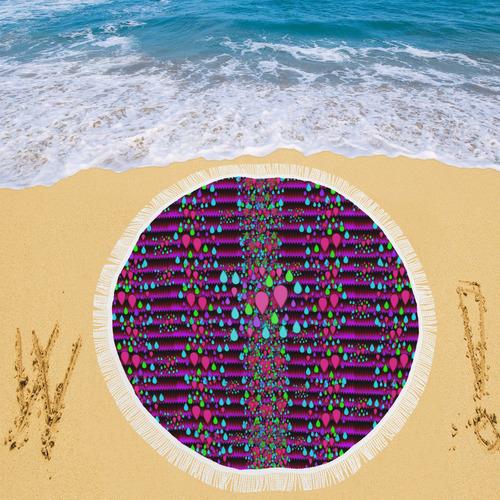 "Raining rain and mermaid shells Pop art Circular Beach Shawl 59""x 59"""