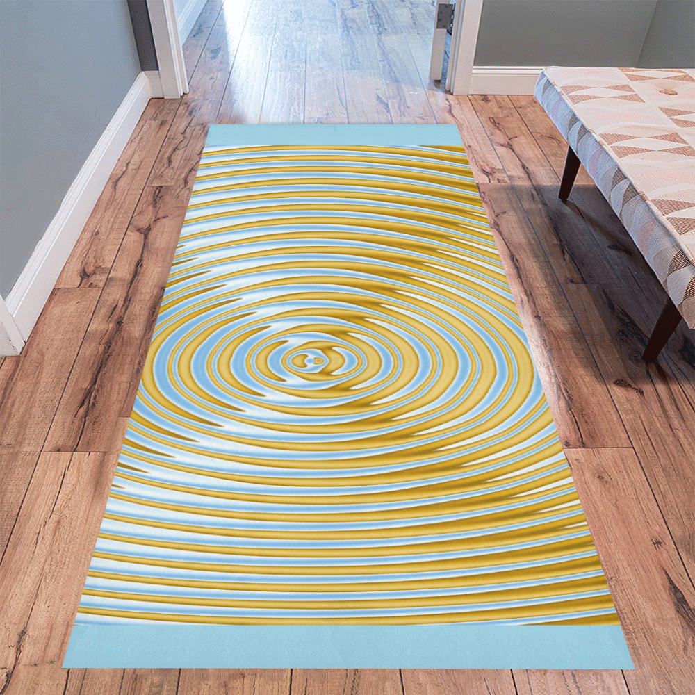 Gold Blue Rings Area Rug 10'x3'3''
