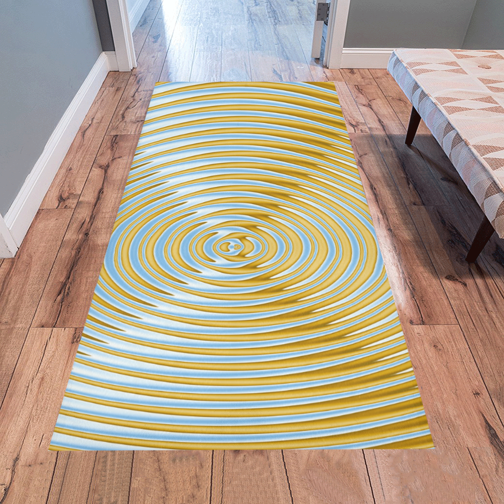 Gold Blue Rings Area Rug 7'x3'3''