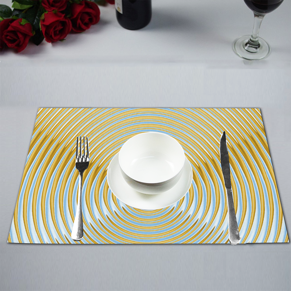 Gold Blue Rings Placemat 12'' x 18'' (Six Pieces)