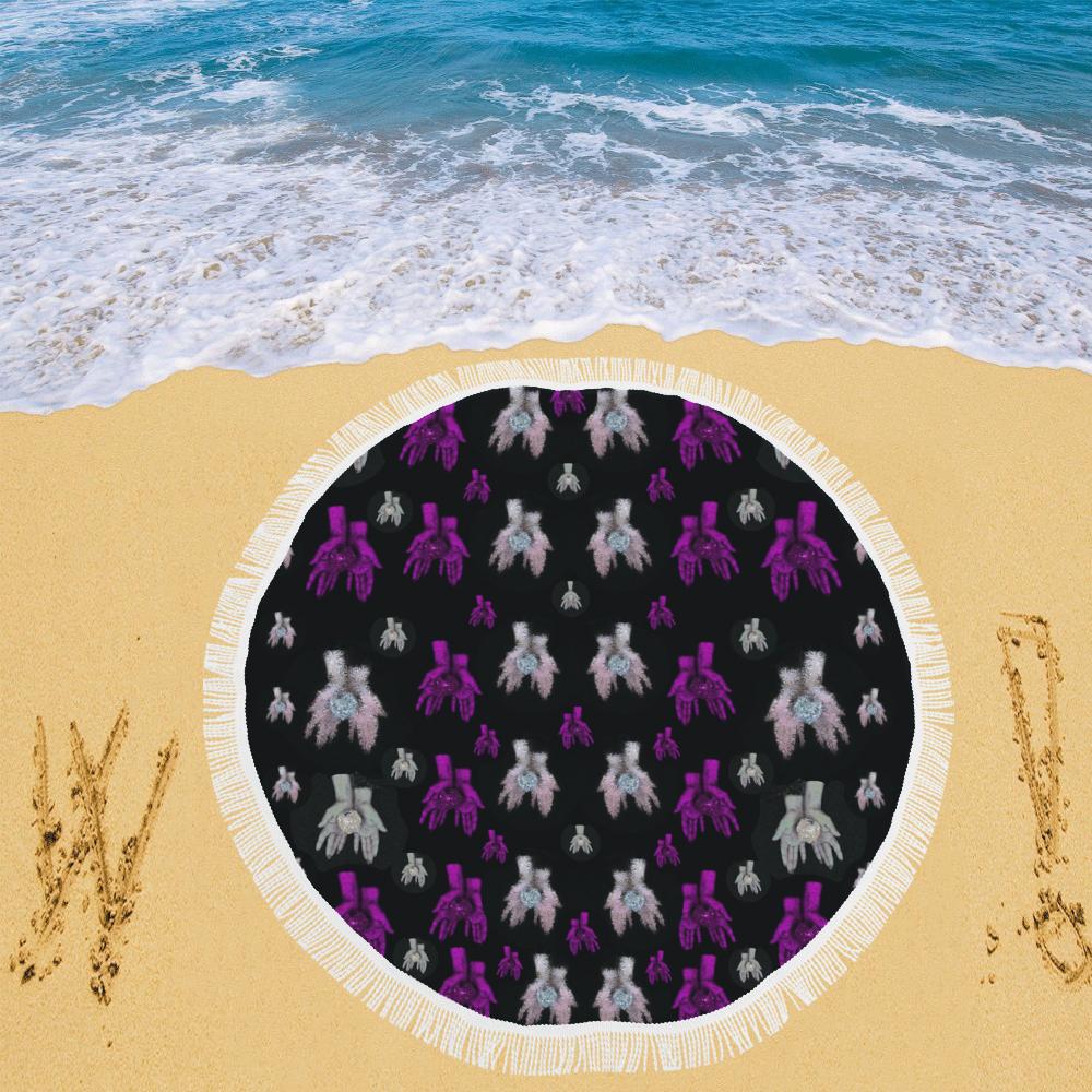 "earth in hands Circular Beach Shawl 59""x 59"""