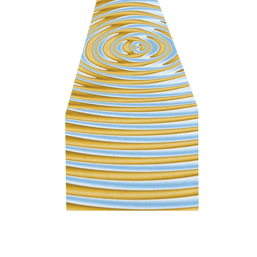 Gold Blue Rings Table Runner 16x72 inch