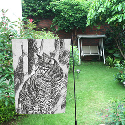 Black White Drawing of a CAT Garden Flag 12''x18''(Without Flagpole)