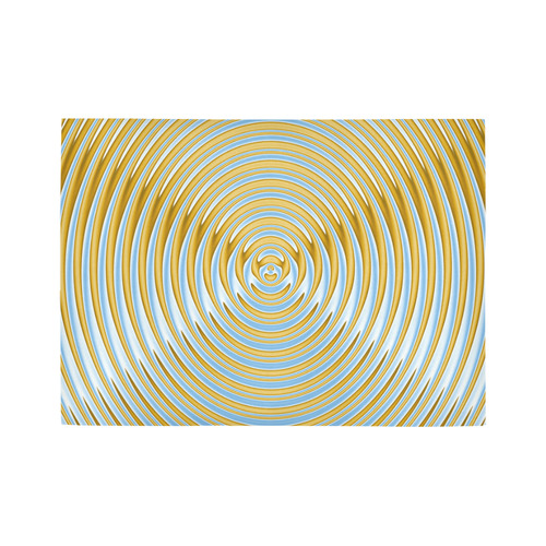 Gold Blue Rings Area Rug7'x5'