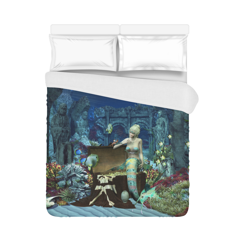 "Underwater wold with mermaid Duvet Cover 86""x70"" ( All-over-print)"