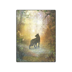 "Teh lonely wolf Blanket 50""x60"""
