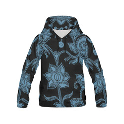 Vintage Floral Niagara and Black All Over Print Hoodie for Women (USA Size) (Model H13)