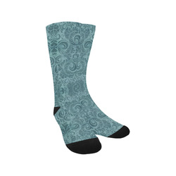 Denim with vintage floral pattern, turquoise teal Trouser Socks