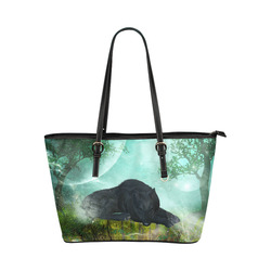 Sleeping wolf in the night Leather Tote Bag/Large (Model 1651)