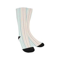 Fun pastel lines in green blue orange and red Trouser Socks