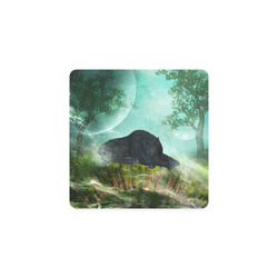 Sleeping wolf in the night Square Coaster