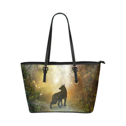 Teh lonely wolf Leather Tote Bag/Large (Model 1651)