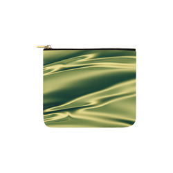 Green satin 3D texture Carry-All Pouch 6''x5''