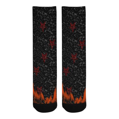 Baphomet in Flames Gothic Art Trouser Socks