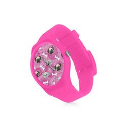 Pugs on Pink Tie Dye Round Plastic Watch(Model 304)