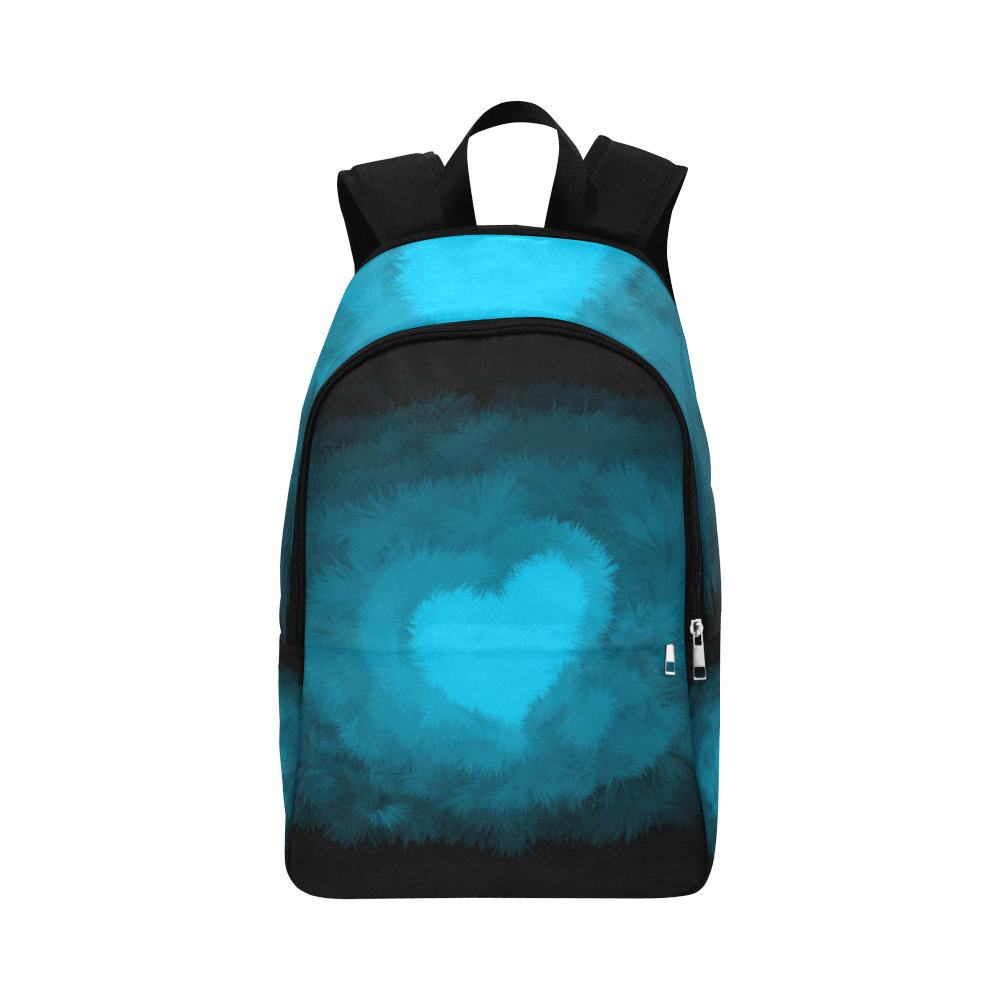Blue Fluffy Heart, Valentine Fabric Backpack for Adult (Model 1659)