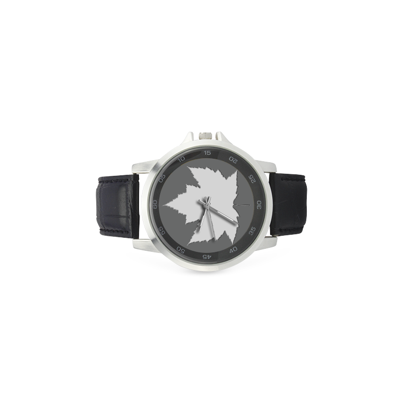 White Maple Leaf Canada Watches Unisex Stainless Steel Leather Strap Watch(Model 202)