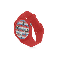 Patriotic Pugs - Red, White, Blue Round Plastic Watch(Model 304)
