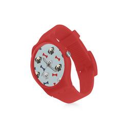 Patriotic Pugs on Light Blue Round Plastic Watch(Model 304)