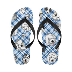blue and white plaid sheepie Flip Flops for Men/Women (Model 040)