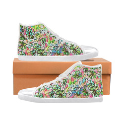 Jolly Floral A by FeelGood Women's High Top Canvas Shoes (Model 002)