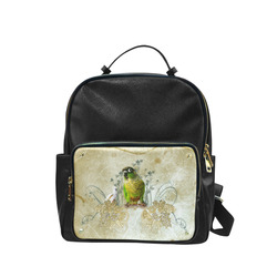 Sweet parrot with floral elements Campus backpack/Large (Model 1650)