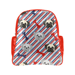 Patriotic Pugs - Red, White, Blue Multi-Pockets Backpack (Model 1636)