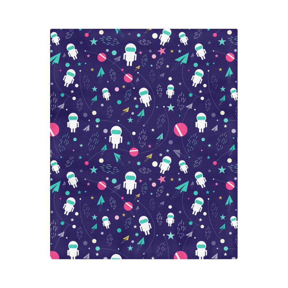 "Cute Doodle Astronauts Duvet Cover 86""x70"" ( All-over-print)"