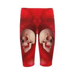 Funny Skull and Red Rose Hestia Cropped Leggings (Model L03)