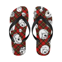 red plaid OES faces Flip Flops for Men/Women (Model 040)