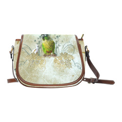 Sweet parrot with floral elements Saddle Bag/Small (Model 1649) Full Customization