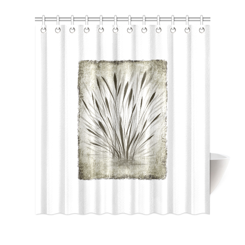 """Simple, elegant ink, watercolor grass, brown hues Shower Curtain 66""""x72"""""""