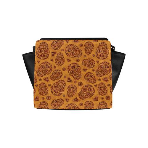 Sugar Skull Pattern - Gold Satchel Bag (Model 1635)